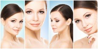 Piękna twarz młoda i zdrowa dziewczyna w kolaż kolekci Chirurgia plastyczna, skóry opieka, kosmetyki i twarz udźwig, Obraz Stock