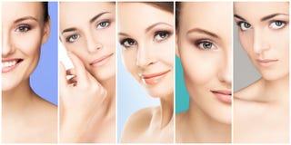 Piękna twarz młoda i zdrowa dziewczyna w kolaż kolekci Chirurgia plastyczna, skóry opieka, kosmetyki i twarz udźwig, Zdjęcie Royalty Free