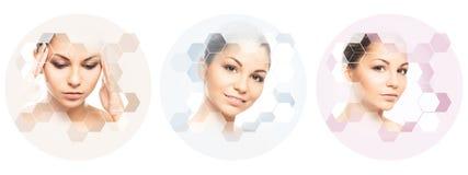 Piękna twarz młoda i zdrowa dziewczyna w kolażu Chirurgia plastyczna, skóry opieka, kosmetyki i twarz udźwigu pojęcie, Zdjęcie Stock