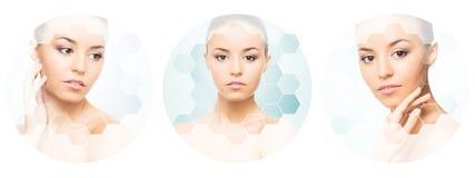 Piękna twarz młoda i zdrowa dziewczyna w kolażu Chirurgia plastyczna, skóry opieka, kosmetyki i twarz udźwigu pojęcie, Zdjęcie Royalty Free