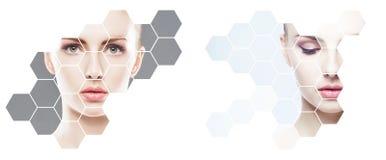 Piękna twarz młoda i zdrowa dziewczyna w kolażu Chirurgia plastyczna, skóry opieka, kosmetyki i twarz udźwigu pojęcie, obrazy stock