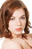 Piękna twarz zdrój kobieta z zdrową czystą skórą. zdjęcie royalty free