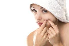 piękna twarzy krosty punktu kobieta zdjęcie stock