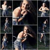 Piękna uśmiechnięta dziewczyna pozuje na bicyklu w parkowym kolażu stonowani wizerunki fotografia royalty free