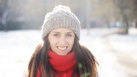 Piękna Uśmiechnięta dziewczyna w zima słonecznym dniu zbiory wideo
