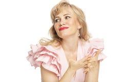 Piękna uśmiechnięta kobieta, w górę, odizolowywająca na białym tle fotografia stock