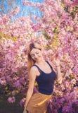 Piękna uśmiechnięta młoda kobieta blisko kwitnie wiosny drzewa Portret ładna blond dziewczyna z długie włosy w różowych kwiatach Zdjęcia Royalty Free