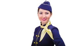 Piękna uśmiechnięta stewardesa w mundurze obraz royalty free