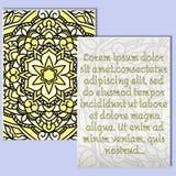 Piękna ulotka z żółtym mandala wzorem i miejsce dla twój teksta Obraz Stock