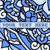 Piękna ulotka z błękitnym mandala wzorem Fotografia Stock
