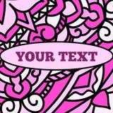 Piękna ulotka z różowym mandala wzorem i owalem dla twój teksta Obrazy Royalty Free
