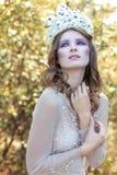 Piękna urocza delikatna pełen wdzięku czarodziejska czarodziejka w kwiat koronie fotografia stock