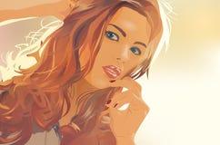 piękna uroda makijaż oczu charakteru naturalnej portret kobiety Zdjęcia Royalty Free