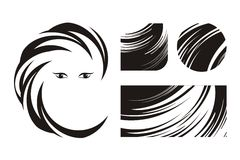 piękna włosiani ikon logowie Fotografia Stock