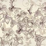 Piękna wektorowa bezszwowa tapeta z lelują w rocznika stylu Obrazy Stock