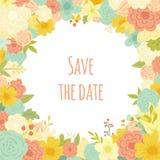 Piękna wektorowa kwiecista rama tła eleganci serc zaproszenia romantycznego symbolu ciepły ślub Save Daktylową kolekcję Zdjęcia Royalty Free