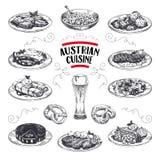 Piękna wektorowa ręka rysować austriackie kuchni ilustracje ustawiać Szczegółowi retro stylowi wizerunki Zdjęcie Royalty Free