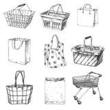 Piękna wektorowa ręka rysować wózek na zakupy, torby i kosza ustalone ilustracje, Fotografia Royalty Free