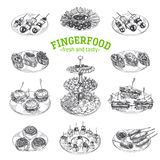 Piękna wektorowa ręka rysująca palcowego jedzenia ilustracja Obrazy Stock