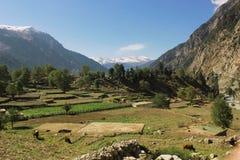Piękna wioska w górach z błękitnymi skys Obrazy Stock