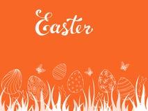 Piękna wiosny karta z motylami i Easter jajkami obrazy stock