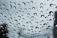 Piękna woda opuszcza na szkle po deszczu zatrzymującego przy rankiem dla tła Obrazy Stock