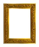 Piękna złota antyk rama odizolowywająca na bielu zdjęcie stock