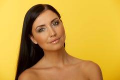 piękna z włosami czarny Fotografia Royalty Free