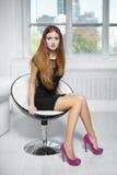 piękna z włosami czerwona kobieta Zdjęcia Stock