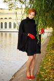 piękna z włosami portreta czerwieni kobieta Zdjęcie Royalty Free