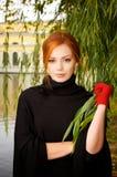 piękna z włosami portreta czerwieni kobieta Fotografia Royalty Free