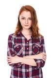 piękna z włosami portreta czerwieni kobieta Obrazy Stock
