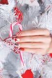 Piękna zabawa malujący gwoździe dla zimy Obrazy Royalty Free