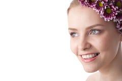 piękna zakończenia twarzy kwiat w górę kobiety obrazy stock