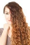 piękna zamknięta kędzierzawego włosy długa kobieta Obrazy Royalty Free