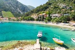 Piękna zatoka w Trstenik na Peljesac półwysepie, Dalmatia, Chorwacja Zdjęcia Stock