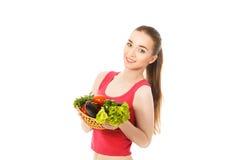 Piękna zdrowa kobieta z warzywami odizolowywającymi Obraz Stock