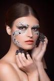 Piękna zmysłowa kobieta z sztuki makeup Obrazy Stock