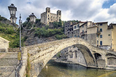 Piękne średniowieczne wioski Dolceaqua w Liguria Obraz Stock