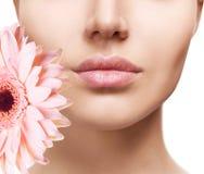 Piękne żeńskie wargi z kwiatu zakończeniem zdjęcie stock