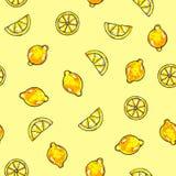 Piękne animaci cytryny owoc na żółtym tle Cytryna rysunek bezszwowy wzoru Zdjęcie Stock