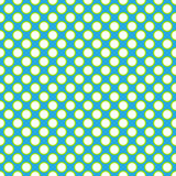 Piękne Bezszwowe białe polek kropki z zieleni granicy wzorem na aqua błękita tle Obraz Stock