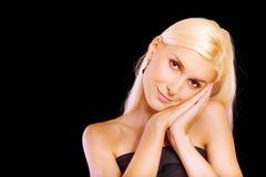 piękne blondynki twarzy palmy obrazy royalty free
