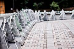 Piękne cementowe bariery blokuje drogę Fotografia Royalty Free