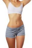 piękne ciało kobiety Perfect olśniewająca skóra dla lata ciała s schudnięcie garbnikująca kobieta Odizolowywający nad białym tłem Obrazy Stock