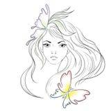 piękne długie włosy modna akcesoria sztuka ilustraci jej linia kobieta Obrazy Stock