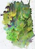 Piękne delikatne zielone żółte błękitne purpurowe akwareli plamy, abstrakcjonistyczny obrazek, błękitnego bez menchii obrazka del ilustracja wektor