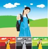 piękne dziewczyny kciuki w górę Ilustracji