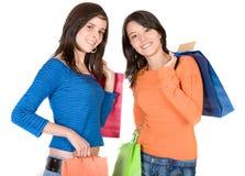 piękne dziewczyny na zakupy. Fotografia Royalty Free