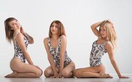 Piękne dziewczyny w kostiumu kąpielowego stojaku na szarym tle zdjęcie stock